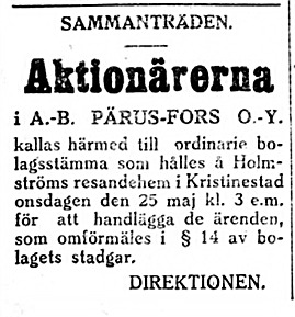 19270511 Pärus Fors håller möte