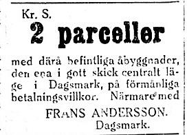 Frans Andersson, född Rosengård säljer 2 parceller i maj 1927.
