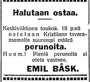 Emil Båsk som var bonde i Dagsmark men sedan bodde i Kristinestad, flyttade runt 1927 till Helsingfors och passade på att köpa upp potatis på stationen, troligtvis för att transporteras till huvudstaden.