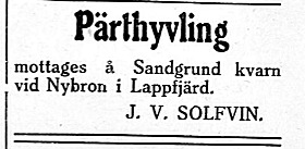 Johan Viktor Solfvin som var mjölnare och pärthyvlare vid Klemets Kvarn i Dagsmark mellan åren 1912-1922, fortsatte med hyvlandet efter att han hade flyttat till Lappfjärd.