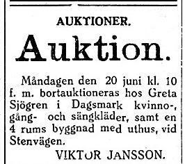Greta Johansdotter Korsbäck (1856-1931) var Henrik Lillkull, senare Sjögrens andra hustru och var med andra ord Mattas-Hilda Grans styvmor. Viktor Jansson var en mäklare.
