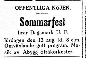 Åbygg Stråkorkester från Perus, som leddes av läraren Henrik Rosenback uppträdde ofta på Majbo i Dagsmark.