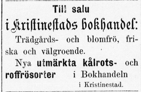 Bokhandeln sålde också annat än böcker och papper. Annons i Ahti 26.4.1879.