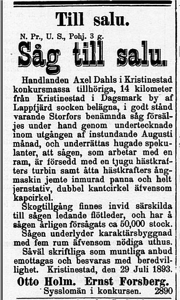 Den 1 augusti 1893 infördes denna annons i flera stora tidning, både på svenska och finska.