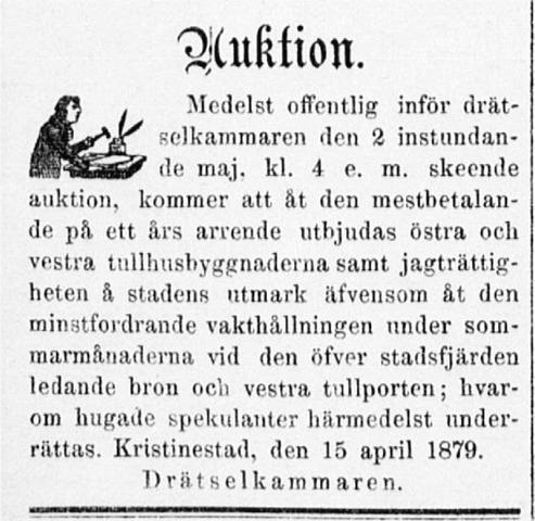 Flera intressanta saker skulle säljas på drätselkammarens auktion. Annons i Ahti 26.4.1879.