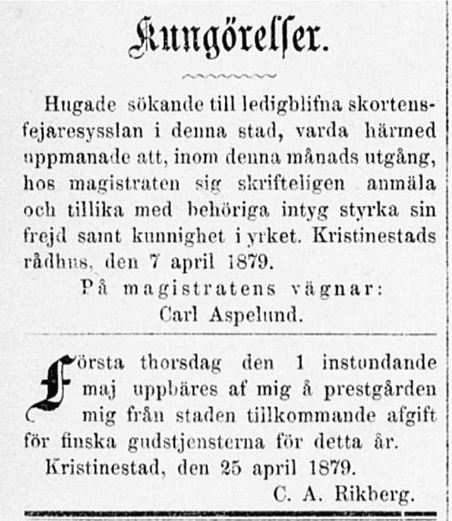 """En yrkeskunnig """"skortensfejare"""" söks i denna kungörelse i tidningen Ahti 26.4.1879."""