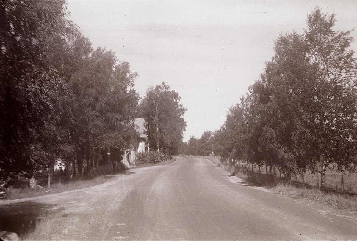 """""""Svedarbacken"""" nedanför kyrkan där korsningen till Bagar-Linas tå syns till vänster. Gården mitt i bild är """"Kaaljohanas"""" alltså Ch. Ulfves affärshus. Björkarna till höger planterade eleverna under åren 1930-1932."""