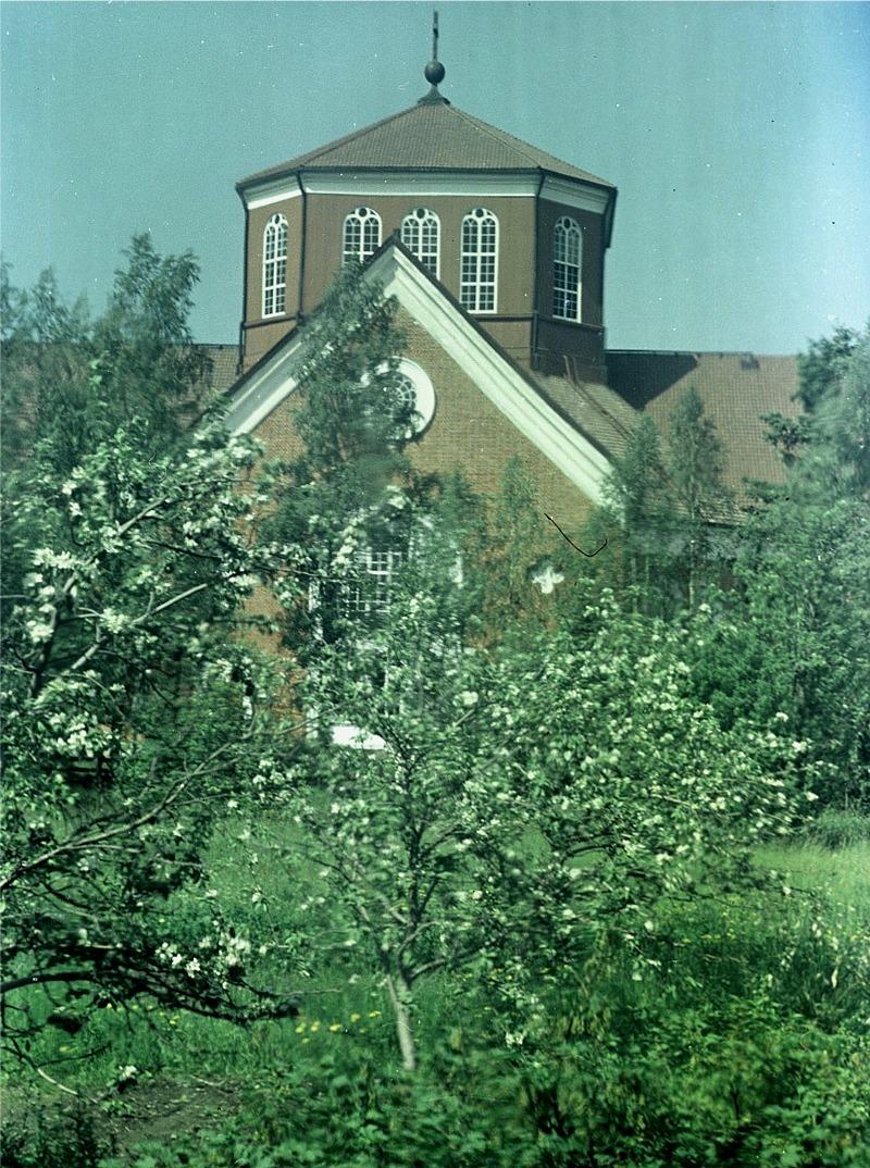 Äppelträden står i blom framför välkänd byggnad.