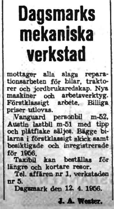 Annons smedjan 14.4.1956