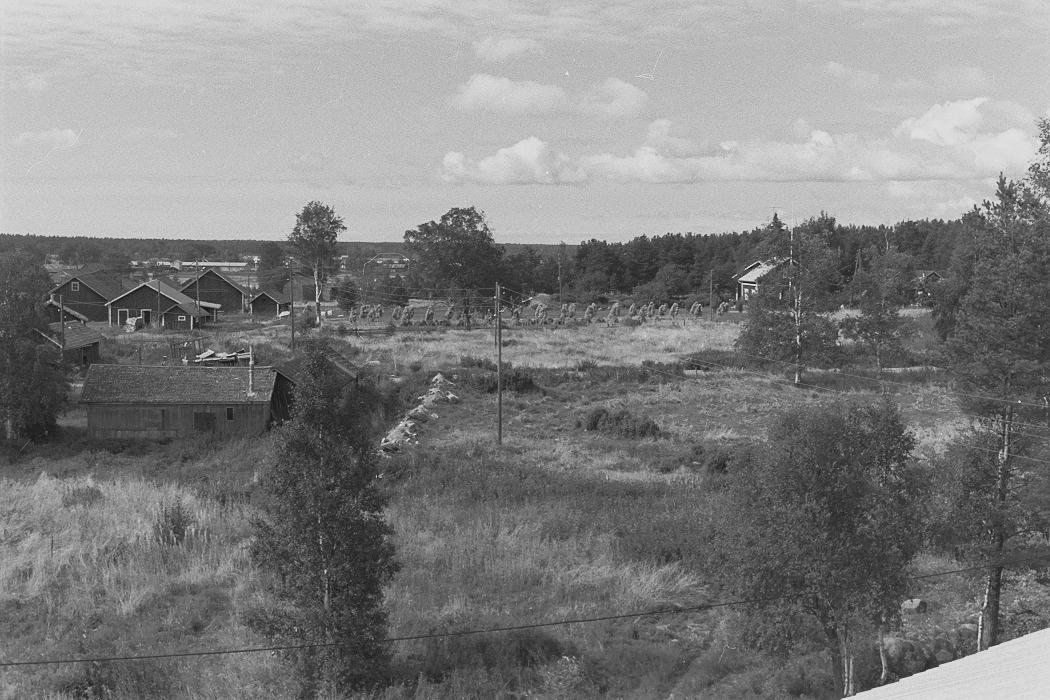 Foto från lokaltaket 1972. Till vänster Alfons Lövdahls uthus och i bakgrunden uthusen där Antas. Gården till höger har tillhört Runar och Elna Grans.