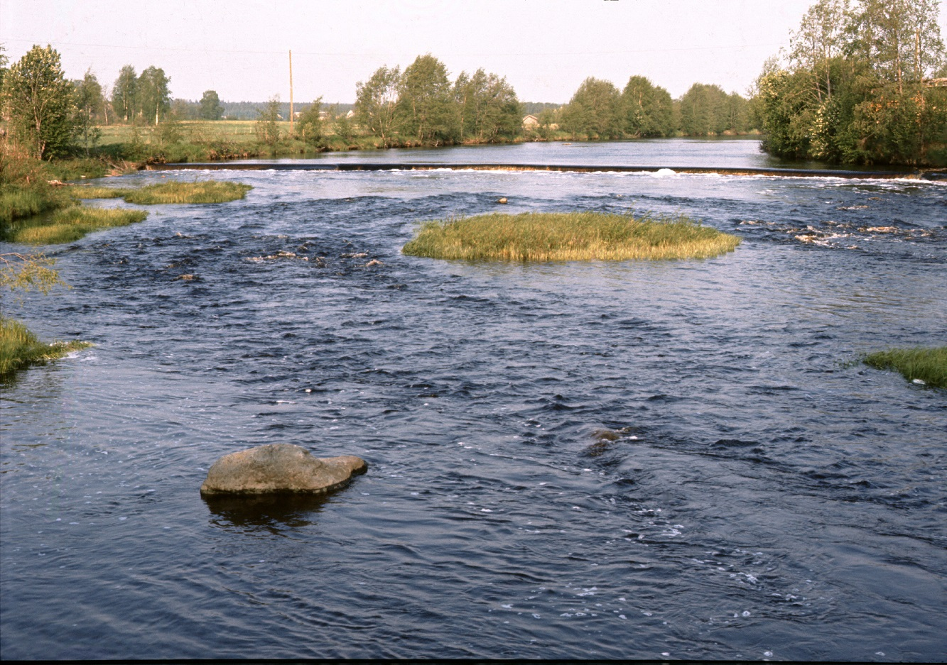 Dammen i Klemetsforsen fotograferad 1972 från Klemetsbroen.