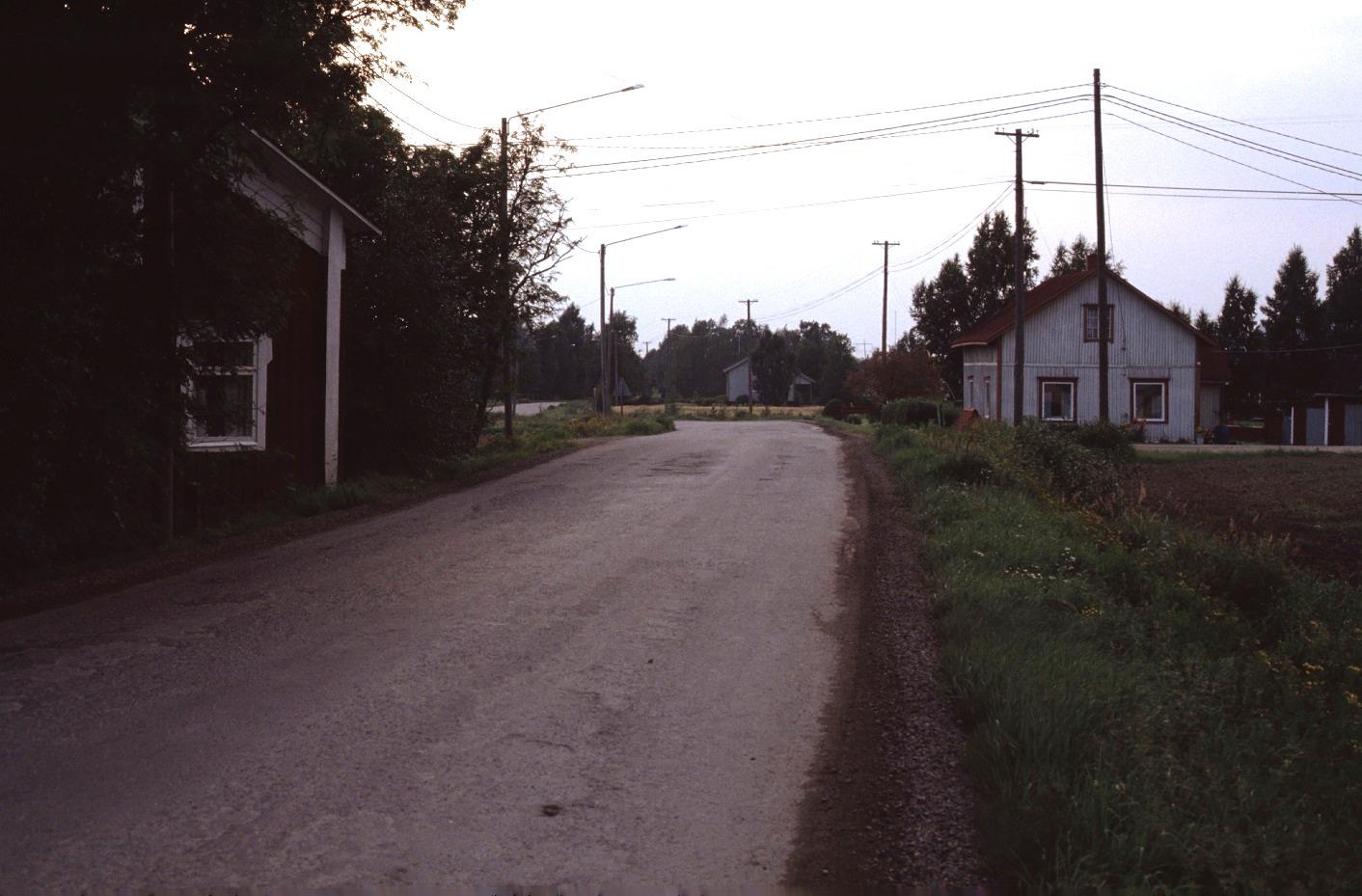 Landsvägen år 1983 med Anderas eller Grans Lennart till vänster , mitt i bild Kangas Velis hus och längst till höger Artur Lövholms gård.