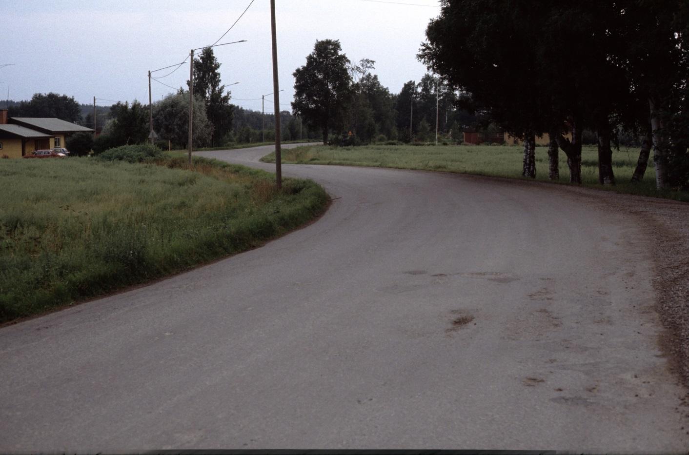 Landsvägen fotad 1983 utanför Vikfors gård. Till vänster Holger Hammarbergs gård.