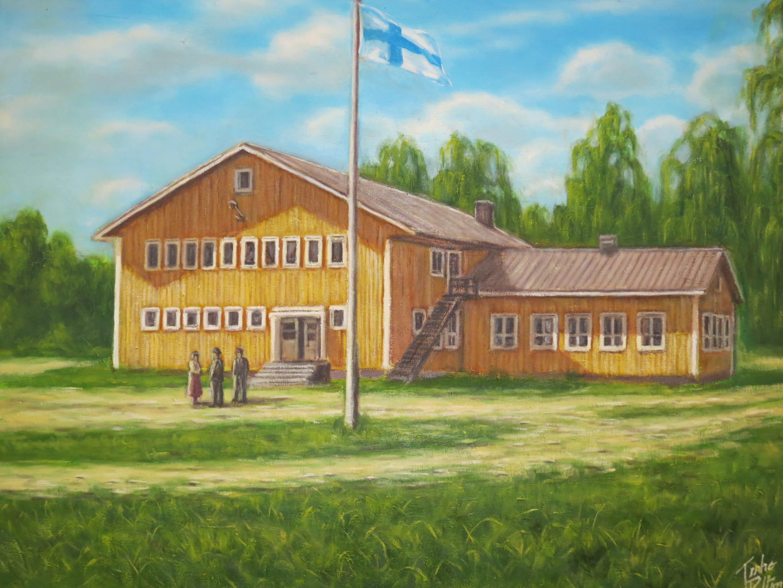 Konstnären Terho Peltoniemi målade denna tavla av lokalen som hänger i serveringsrummet på Majbo.