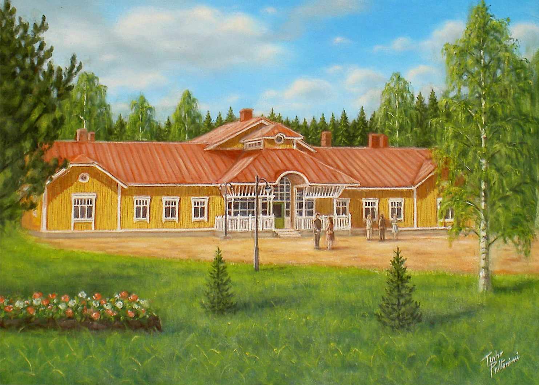 Denna tavla målade Terho Peltoniemi sommaren 1997 då endast väggarna var resta. Resten målade han utgående från de ritningar som Alf Kangasniemi hade gjort.