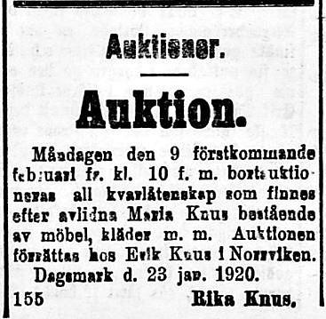 19200131 Rika Knus säljer Maria egendom hos Erik Knus