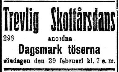 """Det är ju bara på skottår som flickorna får fria och därför ställde """"Dagsmark töserna"""" till med dans just den 29 februari 1920."""