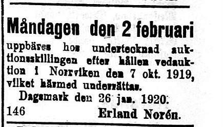 Handlanden Norén hade affär på Sebbasbackan.