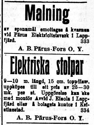 19200228 Pärus Fors utför malning och köper stolpar