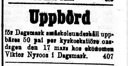 Viktor Nyroos var far till Julanda Mitts och bodde på Åbackan.