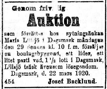 19200324 Josef Backlund säljer Maria Lillsjös byggnader och mycket annat