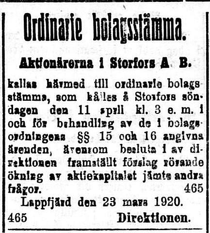 19200327 Årsstämma på Storfors