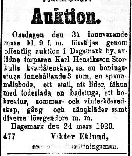 19200327 Viktor Eklund säljer torparen Karl Henrikson Storkulls gård och lösegendom