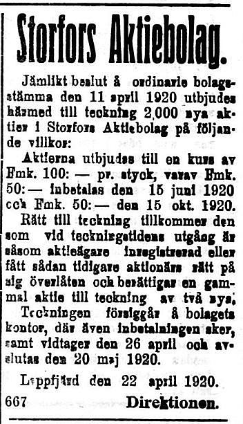 19200424 Nya aktier i Storfors bjudes ut