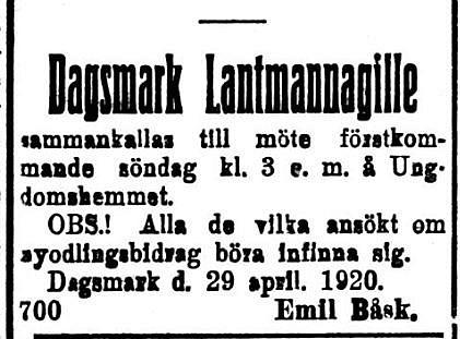 19200501 Lantmannagillet håller möte Emil Båsk