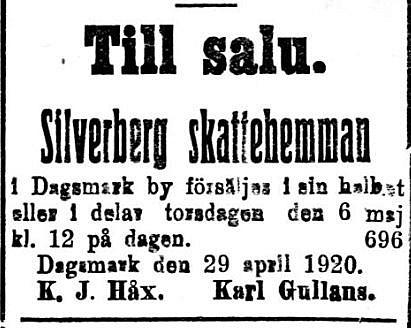 Silverbergs hemman låg i tiderna på Mellanå, öster om Friivelas hemman.