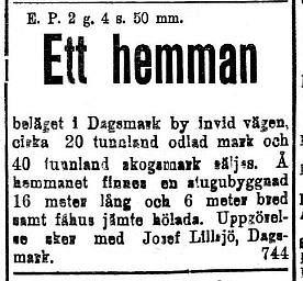 """8 maj 1920 bjuder Josef Lillsjö, som torde vara """"Lillsjö-Bagarin"""" ut en gård. Om det är just han så borde det vara """"Ahlbergas gård"""" som det är frågan om."""