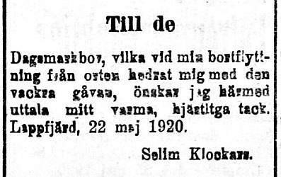 Selim Klockars som var lärare vid folkskolan i Dagsmark från 1919-1920 tackar för gåvan.