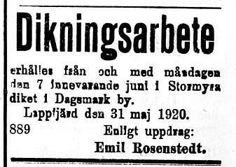 19200602 Emil Rosenstedt och dikning i Stormyron
