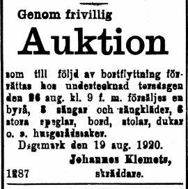 """""""Skräddrinas-Johannes"""" vill sälja lösöre i det hus som han bodde i på Strandgatan i Kristinestad."""