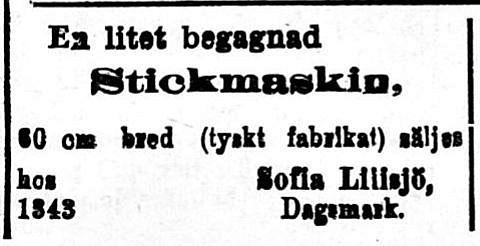 Lillsjö-Bagarinas hustru Sofia vill sälja en stickmaskin 1.9.1920.