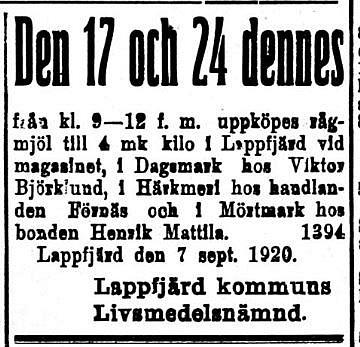 Matbristen var stor i det unga Finland och i kommunerna bildades det livsmedelsnämnder som köpte upp och förmedlade både mjöl och socker vidare.