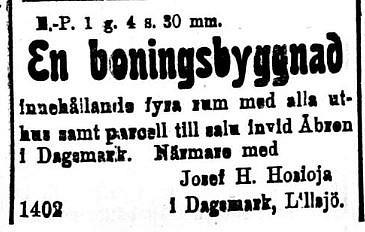 """Josef Hosioja bjuder en gård som torde vara """"Skaftung"""" på Lillsjölidvägen. Annons ur Syd-Österbotten 11.9.1920."""