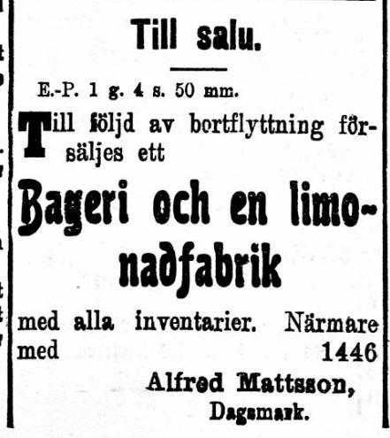"""Alfred försökte 25.9.1920 sälja bageriet som han drev i """"Mylläris gård"""". Detta lyckades inte, utan det blev sedan båda dödsfall och konkurs."""