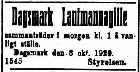 19201009 Lantmannagillet håller möte