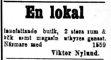 9.10. 1920 vill Nylund hyra ut en lokal. Det skulle vara roligt att veta var denna lokal låg.