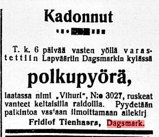 Tidningen Etelä-Pohjanmaa 12.10.1920.