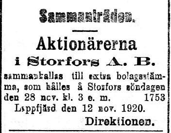 19201113 Storfors håller möte