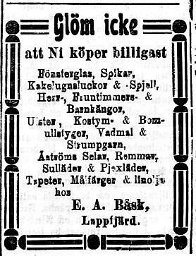 27.11.1920. Erik Anders Båsk som idkade handel i Perus annonserade flitigt i tidningarna.
