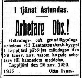 19201127 Lantmannabankens bygge påbörjas i Lappfjärd
