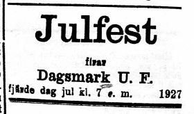 18 december i Sydin, fjärde dag jul var DUF:s traditionella julfestdag.