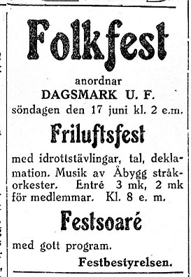 13 juni 1928 annonserade föreningen så här i Syd-Österbotten.