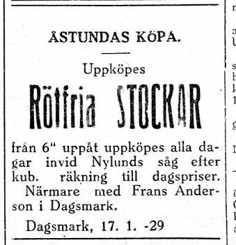 """""""Broback"""" Frans Andersson köpte upp stockar som sedan skulle sågas på Nylunds såg."""