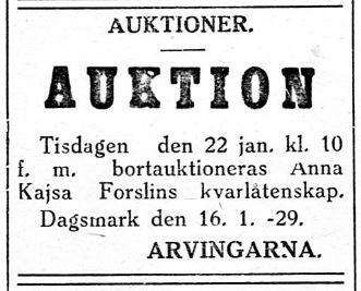 """Anna Kajsa var född Yrjäns i Påskmark men hon gifte sig med """"Lillkårk-Josip"""" Lång i Dagsmark och då hon dog 1929 så bodde de på Åbackan. Hon var mor till Axel Forslin, Erland Grönroos och Maria Backlund."""