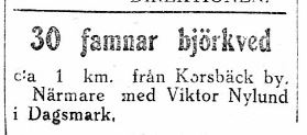 19.1.1929 bjuder Viktor Nylund ut ved.