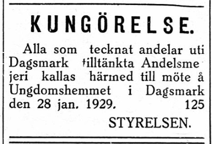31.1.1929 bönderna som tecknat andelar skall komma på möte och besluta om byggande av nytt mejeri.